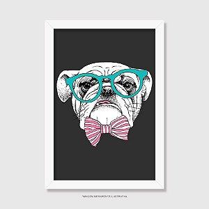Quadro Bulldog Inglês de Óculos e Gravatinha - Modelo 2