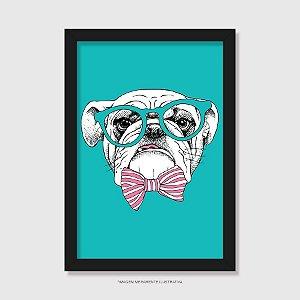 Quadro Bulldog Inglês de Óculos e Gravatinha - Modelo 3