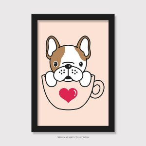 Quadro Bulldog Francês Hora do Café - Modelo 2