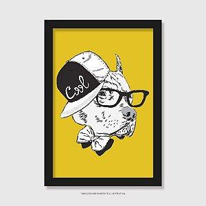 Quadro Pitbull de Boné e Óculos - Modelo 2