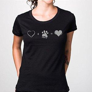 Camiseta Baby Look Cachorro Amor Completo