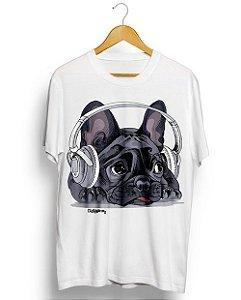 Camiseta Bulldog Francês Ouvindo Música