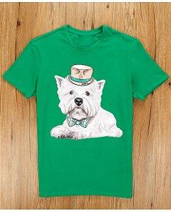 Camiseta Westie de Gravata e Chapéu