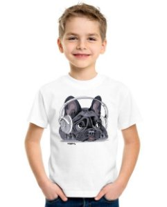 Camiseta Infantil Bulldog Francês Ouvindo Música