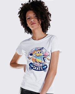 Camiseta Baby Look Cachorro Skatista