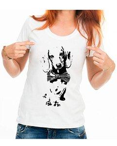 Camiseta Baby Look Dachshund de Gravatinha em Preto e Branco