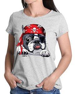 Camiseta Baby Look Bulldog Francês Pirata