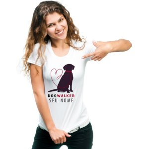 Camiseta Baby Look Dog Walker Personalizada com Nome
