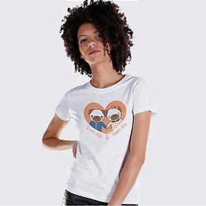 Camiseta Baby Look Cachorro Namorados Personalizada com Nomes