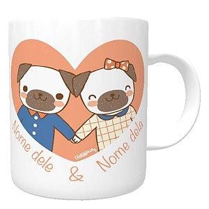 Caneca Cachorro Namorados Personalizada com Nomes