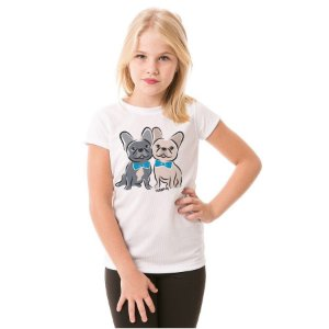 Camiseta Infantil Bulldog Francês Casal de Gravatinha