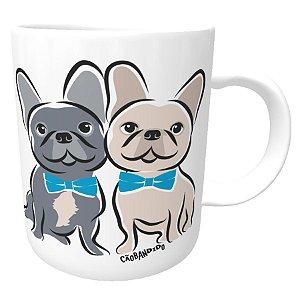 Caneca Bulldog Francês Casal de Gravatinha