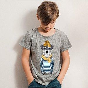 Camiseta Infantil Schnauzer Cachorro Marinheiro