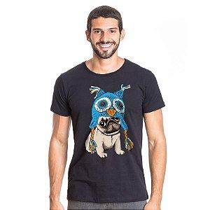 Camiseta Cachorro Pug Coruja