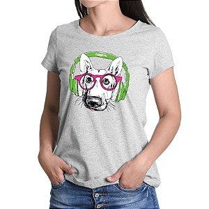 Camiseta Baby Look Pastor Alemão de Óculos e Fone de Ouvido