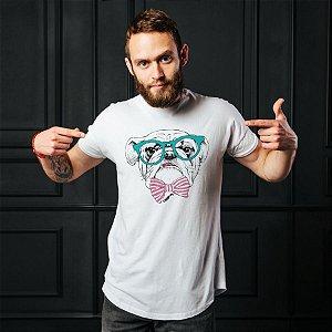 Camiseta Bulldog Inglês de Óculos e Gravatinha