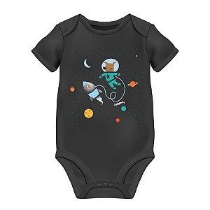 Body Bebê Astronauta - Cachorro e Urso no Espaço