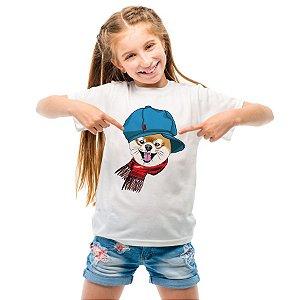 Camiseta Infantil Spitz Alemão de Boina e Cachecol