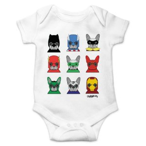 Body Bebê Cachorro Super Heróis