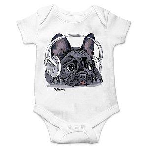 Body Bebê Bulldog Francês Ouvindo Música
