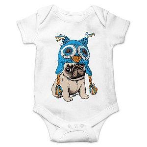 Body Bebê Pug Coruja - Branco