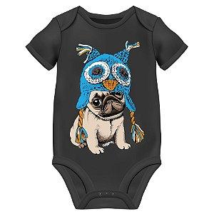 Body Bebê Pug Coruja - Preto