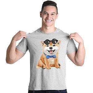 Camiseta Akita Filhote de Óculos e Gravatinha