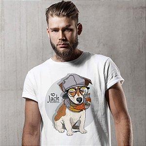 Camiseta Jack Russell de Óculos e Cachecol