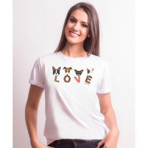 Camiseta Baby Look Cachorro Love