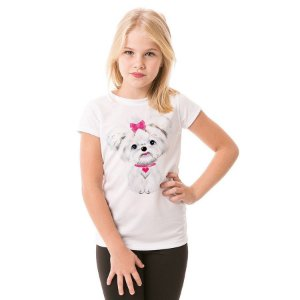 Camiseta Infantil Maltês de Lacinho