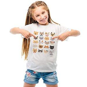 Camiseta Infantil Cats Emoticons