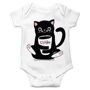 Body Bebê Gato Preto Café