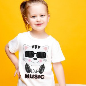 Camiseta Infantil Gato Love Music