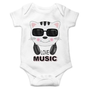 Body Bebê Gato Love Music