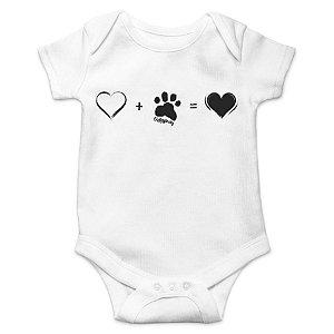 Body Bebê Cachorro Amor Completo - Branco