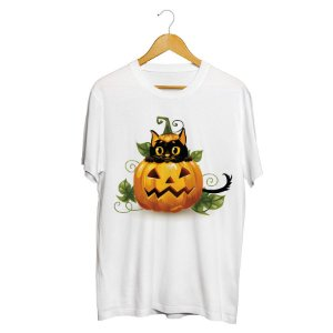 Camiseta Gato Preto Halloween