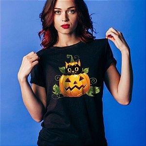 Camiseta Baby Look Gato Preto Halloween