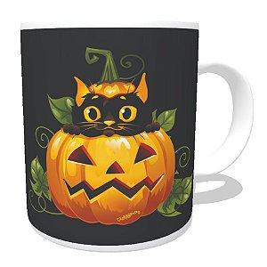 Caneca Gato Preto Halloween