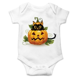 Body Bebê Gato Preto Halloween - Branco