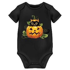 Body Bebê Gato Preto Halloween - Preto