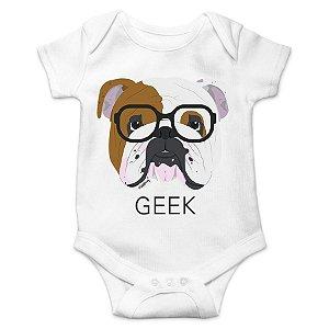 Body Bebê Bulldog Inglês Geek - Branco