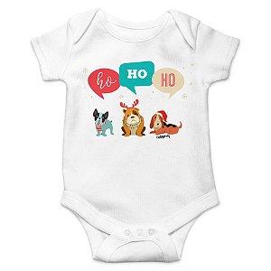 Body Bebê Cachorro Natal Ho Ho Ho