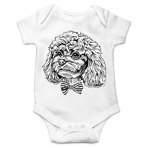 Body Bebê Poodle de Gravatinha Borboleta - Branco