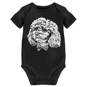 Body Bebê Poodle de Gravatinha Borboleta - Preto