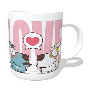 Caneca Cachorro Casal Love