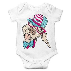 Body Bebê Cachorro Vira-Lata Cool - Branco