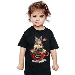 Camiseta Infantil Gato e Cachorro - Friend Forever