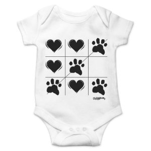 Body Bebê Cachorro Jogo da Velha - Branco