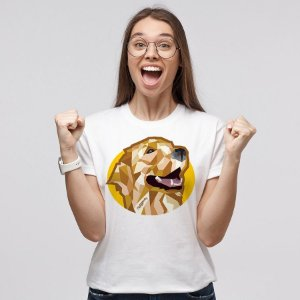Camiseta Baby Look Golden Retriever Mosaico Guth Dog