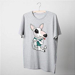 Camiseta Básica Bull Terrier I Love Mom